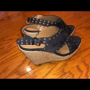 Charcoal Grey Suede Wedges (used)